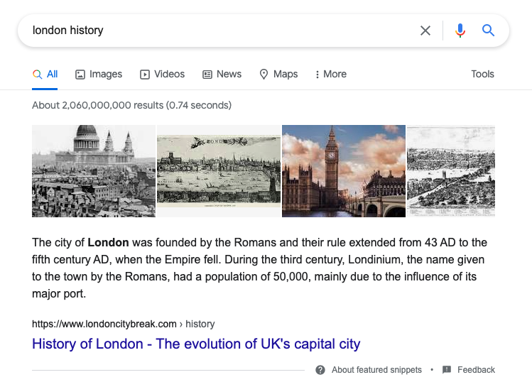 london featured snippet example
